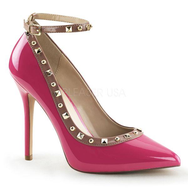 AMUSE-28 Lack High-Heels hot-pink mit nudefarbener Umrandung und Nieten besetzt